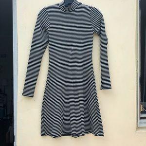 American apparel mock neck ribbed striped dress